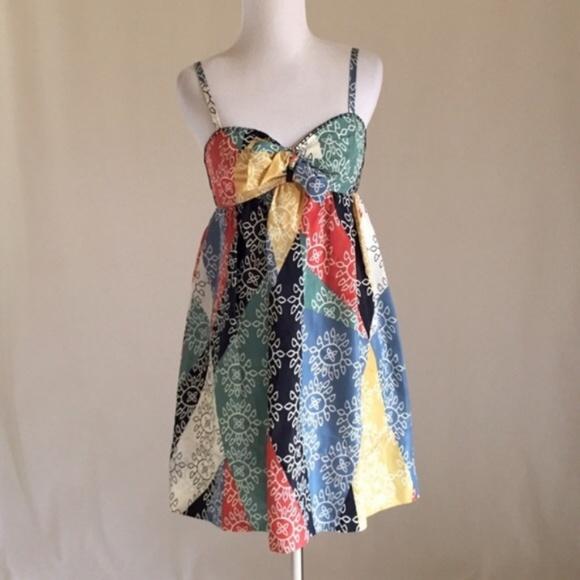 BCBGMaxAzria Dresses & Skirts - BCBGMAXAZRIA 100% Silk Multi Color Dress Small